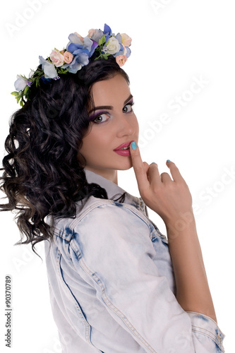 Fotografia, Obraz  portrait of the young woman with makeup and chaplet