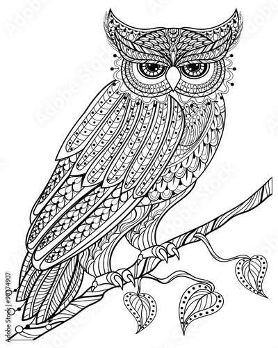 Deurstickers Uilen cartoon Hand drawn magic Owl sitting on branch for adult anti stress Col