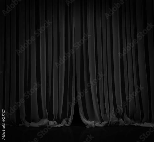 Plakat Czarna zasłona w teatrze.