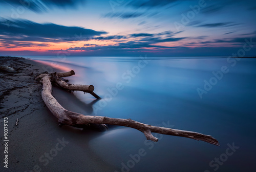 Foto op Plexiglas Zwart Blue magic - long exposure seascape before sunrise