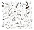 hand drawn arrows icons set on white
