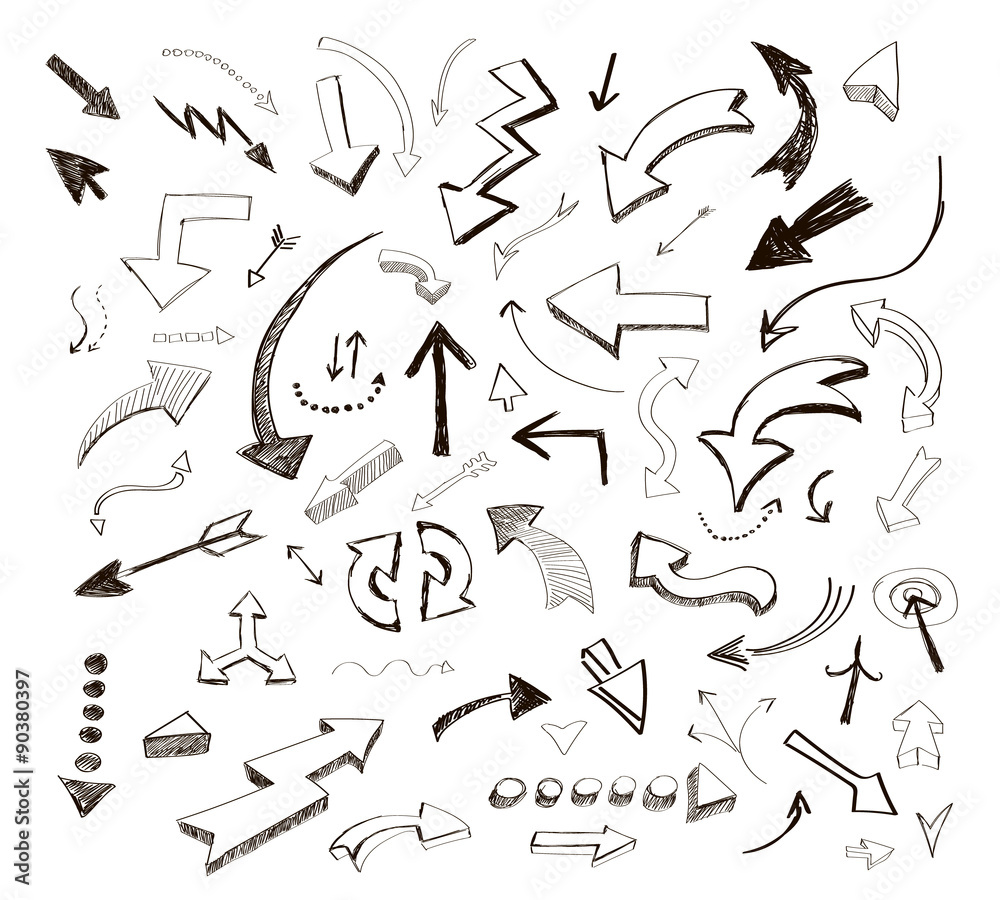 Fototapeta vector hand drawn arrows icons set on white