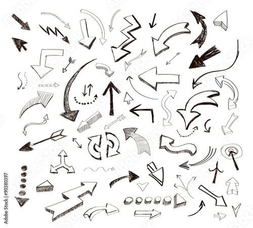 Leinwand Poster vector hand drawn arrows icons set on white