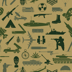 FototapetaMilitary background. Seamless pattern. Military elements, armore