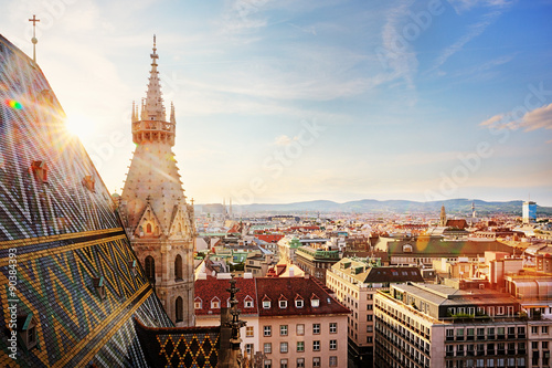 In de dag Wenen Vienna, St. Stephen's Cathedral, view from north tower
