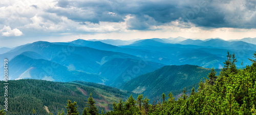 Photo Blue mountains covered with green forest