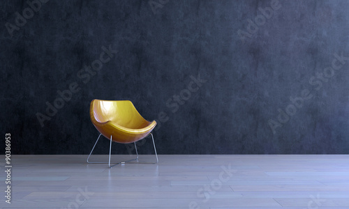 Fotografie, Obraz  Modern Gold Colored Chair in Empty Room