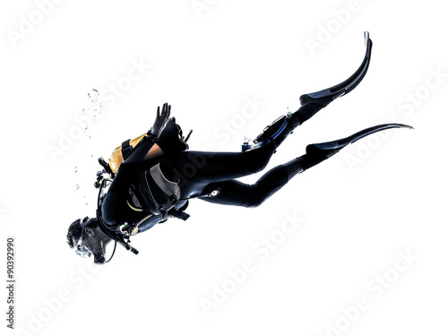 Spoed Fotobehang Duiken man scuba diver diving silhouette isolated