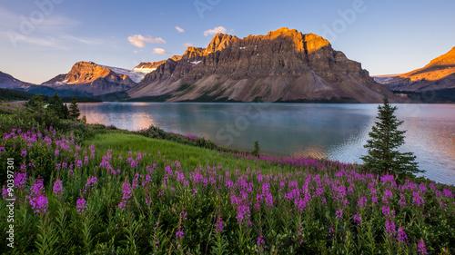 Photo  Sunrise at Bow Lake in Banff National Park
