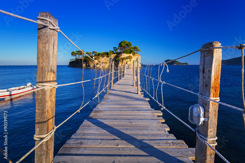 obraz lub plakat Hanging bridge to the island, Zakhynthos in Greece