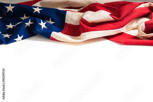 Fotografie, Obraz  Vintage Americká vlajka na bílém s kopií vesmíru