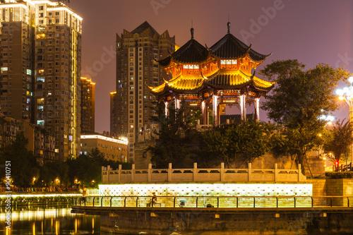 Obrazy na płótnie Canvas Night view of Hejiang Pavilion in Chengdu