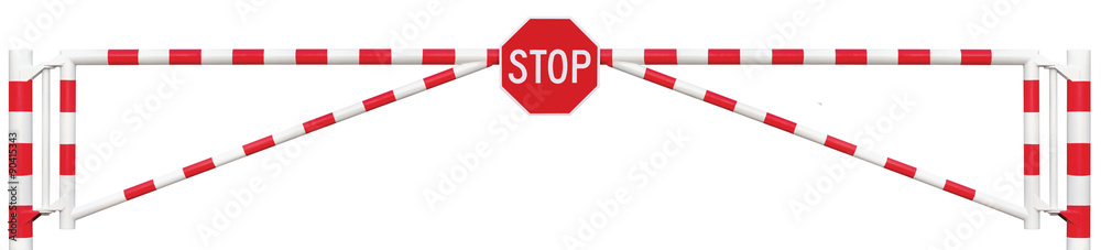 Fototapeta Gated Road Barrier Closeup Octagonal Stop Sign Gate Bar White Red Traffic Entry Stop Security Point Gateway Isolated Closed Entrance Checkpoint Halt Octagon Signage Warning Restricted Area