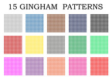 15 Gingham Patterns, Vector Textures In Different Colors