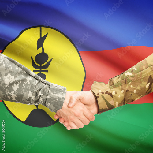 Fotografie, Obraz  Men in uniform shaking hands with flag on background - New Caled