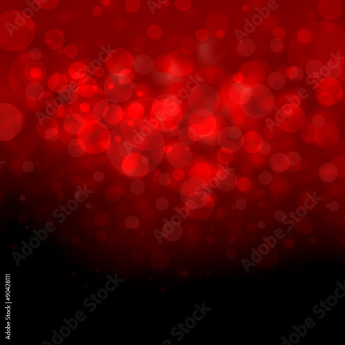 abstract black and red background, white bokeh lights shine on top border, beautiful red sky concept, floating bubbles or circles, blurred falling rain or snow design, Christmas background idea