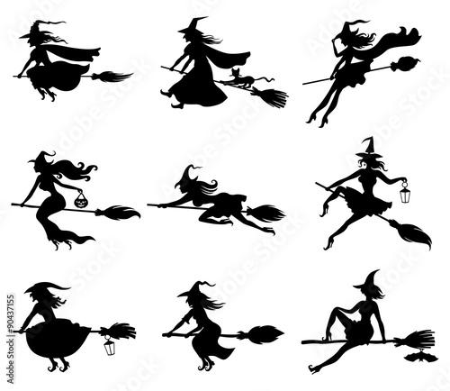 Fotografie, Obraz  Silhouette witches set
