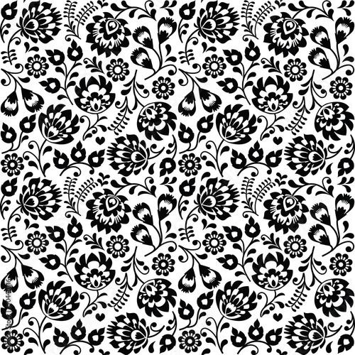 bezproblemowa-polski-kwiatowy-wzor-czarnej-sztuki-ludowej