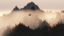 Private Airplane Flying Over Autumn Pine Trees In The Mist.