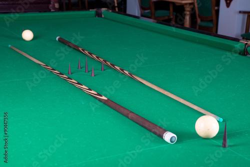 Billiard balls and cues плакат