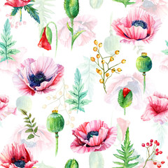 Fototapeta Maki Seamless pattern of watercolor poppies. Illustration of flowers. Vintage. Can be used for gift wrapping paper.