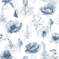 FototapetaSeamless pattern of watercolor poppies. Illustration of flowers. Vintage. Can be used for gift wrapping paper. Monochrome color.