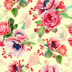 FototapetaSeamless pattern of watercolor poppies and roses. Illustration of flowers. Vintage. Can be used for gift wrapping paper.