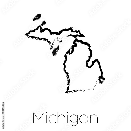 Scribbled shape of the State of Michigan