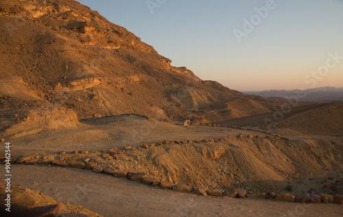 Tuinposter Sunset in Negev desert