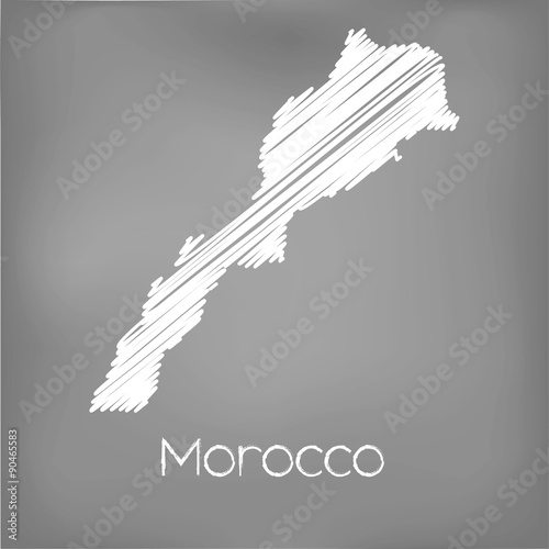 Canvas Print Scribbled Map of the country of Morocco