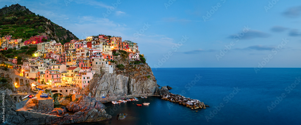 Fototapety, obrazy: Manarola, Cinque Terre (Italian Riviera, Liguria) high definition panorama at twilight