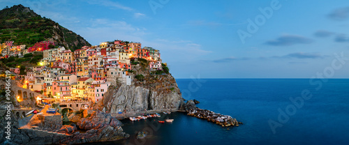 Poster Liguria Manarola, Cinque Terre (Italian Riviera, Liguria) high definition panorama at twilight