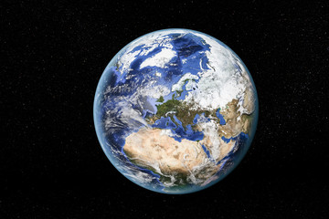Detailed view of Earth from space, showing North Africa, Europe and the Middle East. Elements of this image furnished by NASA