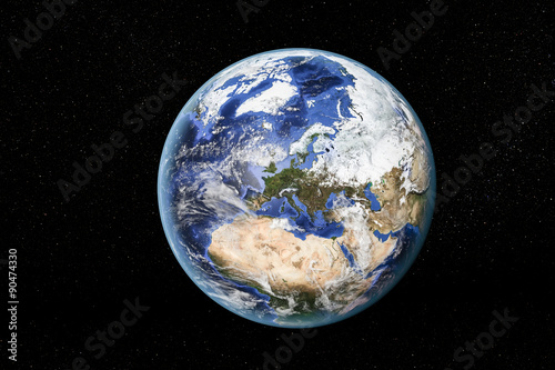 Foto op Plexiglas Noord Europa Detailed view of Earth from space, showing North Africa, Europe and the Middle East. Elements of this image furnished by NASA