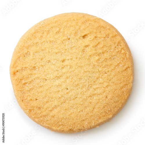 Recess Fitting Cookies Single round shortbread biscuit isolated on white from above.