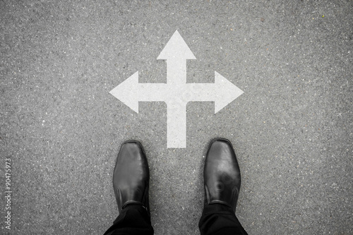Black shoes standing at the cross road Poster