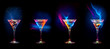 canvas print picture - Bright  cocktails in glasses