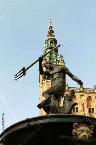 Fotografie, Obraz  Gdaňsk Neptun i katedra