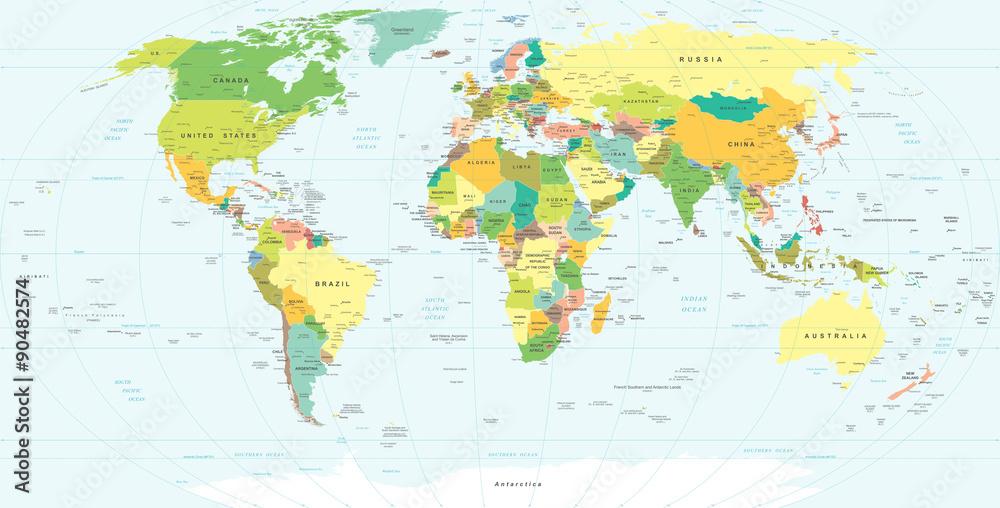 Fotografie Obraz Mapa Sveta Velmi Podrobne Vektorove Ilustrace
