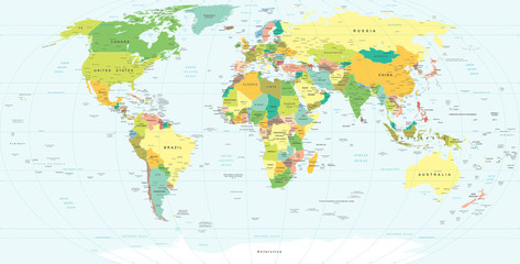 FototapetaWorld Map - highly detailed vector illustration.