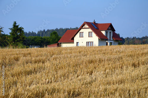 Fototapeta Landscape with  field and house obraz