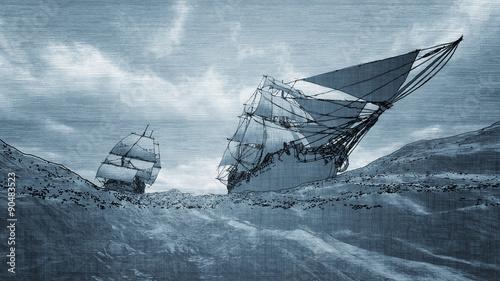 In de dag Schip two sailboats sailing