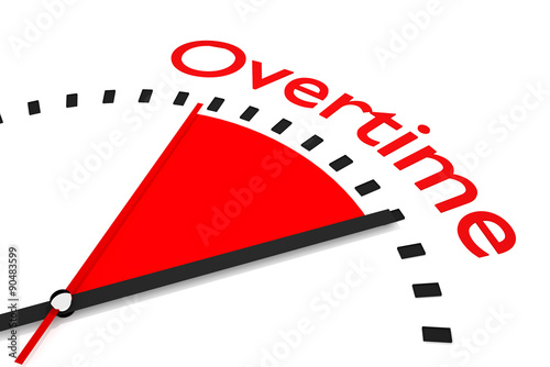 Fotografie, Obraz  clock with red seconds hand area overtime