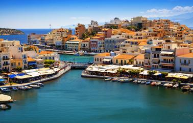 Agios Nikolaos and Voulismeni lake in Crete island, Greece.