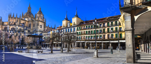 panoramic view of Paza Mayor in Segovia, Spain