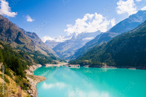 Place Moulin lake hiking in the Valle d'aosta Wallpaper Mural