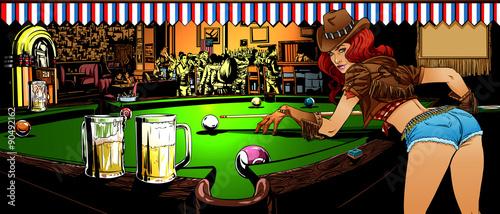 Fotografie, Obraz  The game of billiards in the bar
