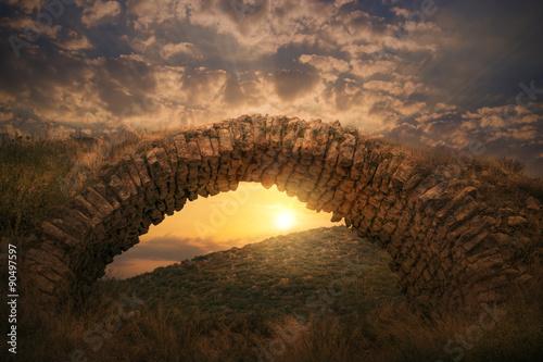 Photo Old Archaic Stone Bridge