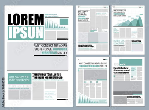 Green Graphical Design Newspaper Template Buy This Stock Vector