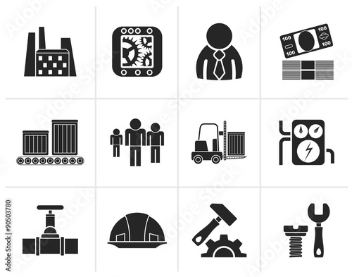 Photo  Black Business, factory and mill icons - vector icon set
